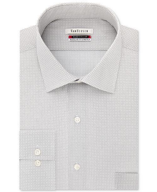 b2c76c7fed ... Van Heusen Men s Regular Fit Wrinkle-Free Flex Collar Stretch Pattern  Dress ...