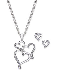Charter Club Silver-Tone Pavé Heart Pendant Necklace and Stud Earrings Set, Created for Macy's