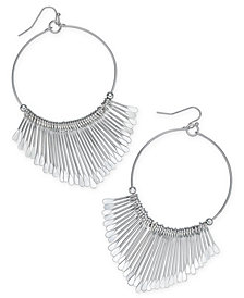 Thalia Sodi Silver-Tone Fringe Drop Hoop Earrings, Created for Macy's