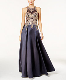 XSCAPE Embroidered Illusion Ballgown