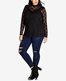 City Chic Trendy Plus Size Lace Illusion Top