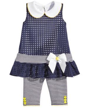 Bonnie Baby 2-Pc. Laser-Cut Tunic & Striped Capri Leggings Set, Baby Girls thumbnail