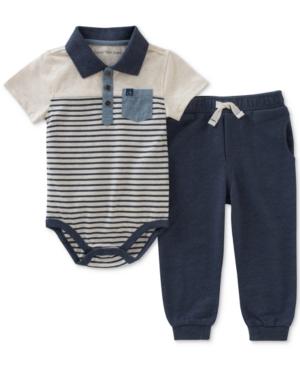 Calvin Klein 2Pc Striped Polo Bodysuit  Jogger Pants Set Baby Boys (024 months)