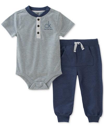 Calvin Klein 2-Pc. Henley Bodysuit & Jogger Pants Set, Baby Boys