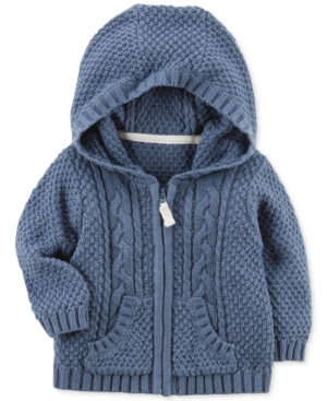 Carters Hooded ZipUp CableKnit Cotton Sweater Baby Boys (024 months)
