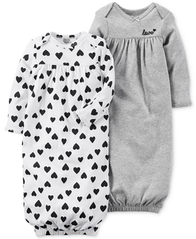 Carter\'s 2-Pk. Hearts & Love Cotton Sleeper Gowns, Baby Girls ...
