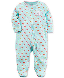 Carter's Baby Girls Rainbow-Print Footed Cotton Coverall