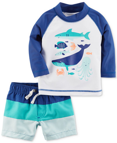 Carter's 2-Pc. Sea Creatures Rash Guard & Colorblocked Swim Trunks Set, Baby Boys