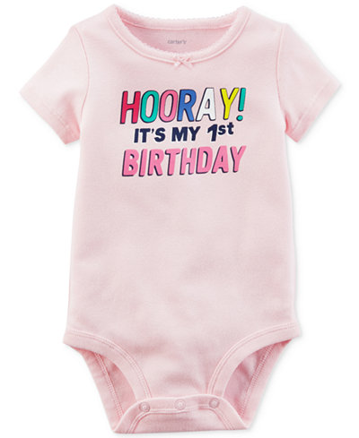 Carter's Hooray 1st Birthday Cotton Bodysuit, Baby Girls