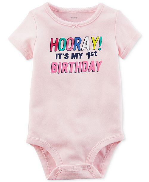 fab47a1f8 Carter's Hooray 1st Birthday Cotton Bodysuit, Baby Girls & Reviews ...