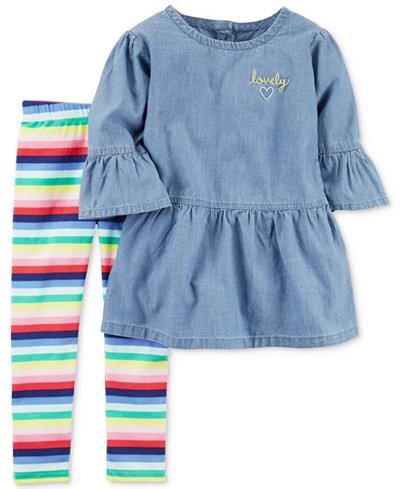 Carter's 2-Pc. Chambray Top & Striped Leggings Set, Baby Girls