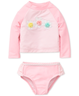 Little Me 2Pc Striped Rash Guard Swimsuit Baby Girls (024 months)