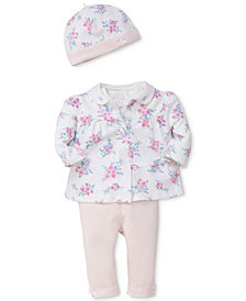 Little Me 4-Pc. Cotton Jacket, Bodysuit, Pants & Hat Set, Baby Girls