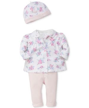 Little Me 4Pc Cotton Jacket Bodysuit Pants  Hat Set Baby Girls (024 months)