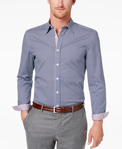 Con.Struct Men's Gingham-Print Shirt, Created for Macy's