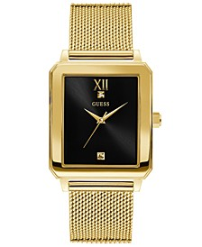 Men's Diamond-Accent Gold-Tone Stainless Steel Mesh Bracelet Watch 40x35.5mm