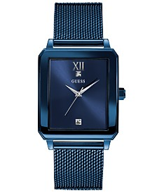 Guess Men's Diamond-Accent Blue Stainless Steel Mesh Bracelet Watch 40x35mm