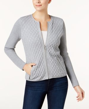 Charter Club Cotton Quilted Zip-Front Cardigan, Created for Macy's 6143205