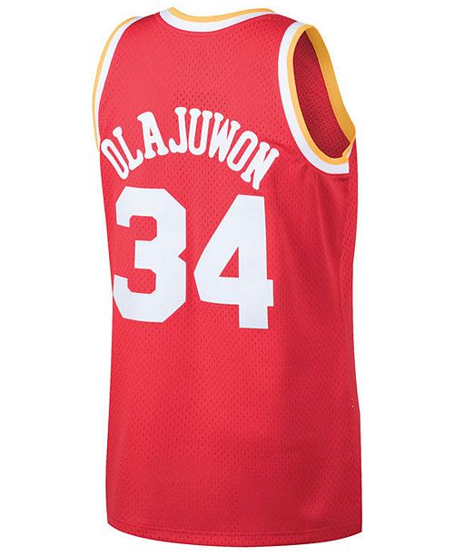 6a72e60a5 ... Mitchell   Ness Men s Hakeem Olajuwon Houston Rockets Hardwood Classic  Swingman Jersey ...
