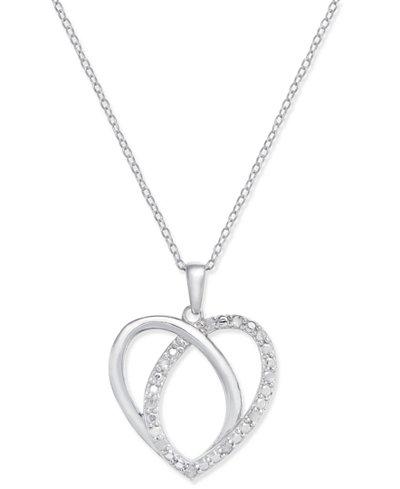 Diamond Heart Pendant Necklace (1/10 ct. t.w.) in Sterling Silver