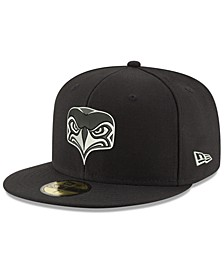 Seattle Seahawks Black And White 59FIFTY Fitted Cap
