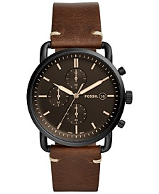 Men's Chronograph Commuter Brown Leather Strap Watch 42mm