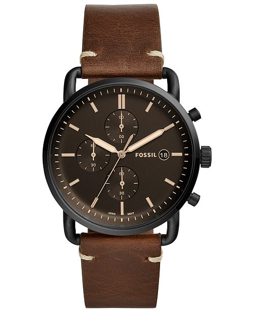 f0d612372 Fossil Men's Chronograph Commuter Brown Leather Strap Watch 42mm ...