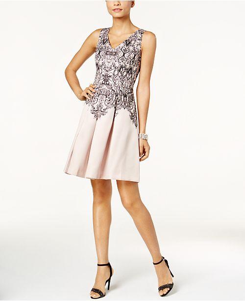Taylor Velvet-Inset Printed Fit & Flare Dress