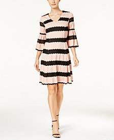 Taylor Lace-Stripe Bell-Sleeve Dress