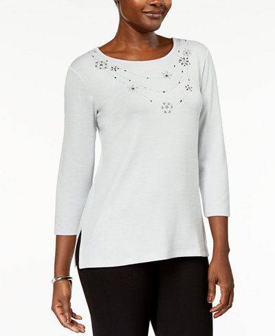 Alfred Dunner Lakeshore Drive Petite Necklace-Embellished Tunic