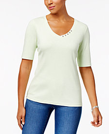 Karen Scott Elbow-Sleeve Cotton Top, Created for Macy's