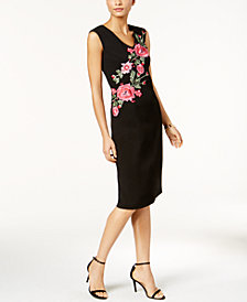 Ivanka Trump Floral-Embroidered Sheath Dress