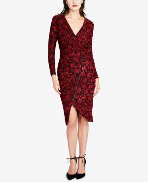 Rachel Rachel Roy Textured Floral Zip Wrap Dress