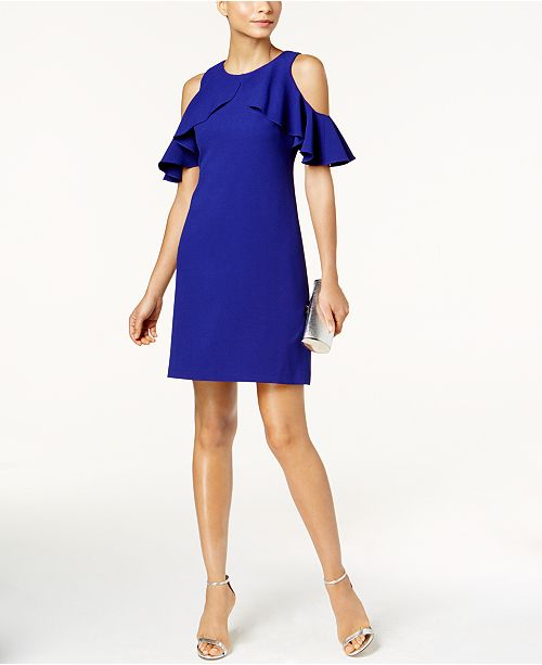 Vince Camuto Ruffled Cold-Shoulder Dress