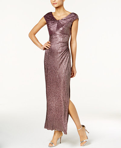 Connected Petite Metallic A-Line Gown
