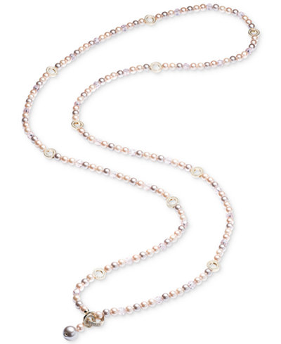 Carolee Gold-Tone Pavé Ring & Pink Imitation Pearl Convertible Strand Necklace