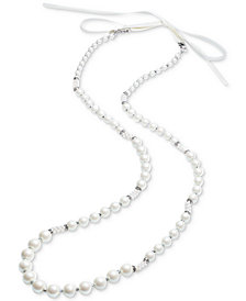 Carolee Silver-Tone Pavé Bead, Imitation Pearl & White Ribbon Convertible Strand Necklace