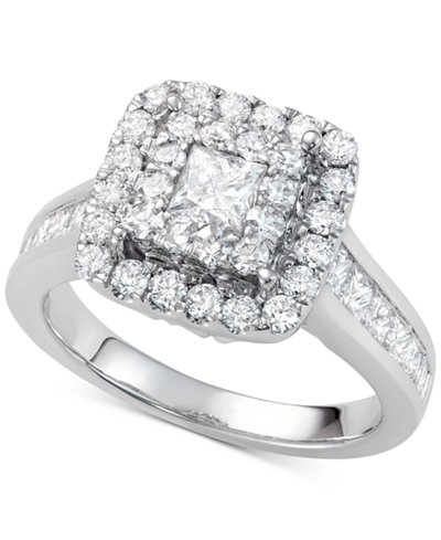Diamond Square Halo Ring (2 ct. t.w.) in 14k White Gold