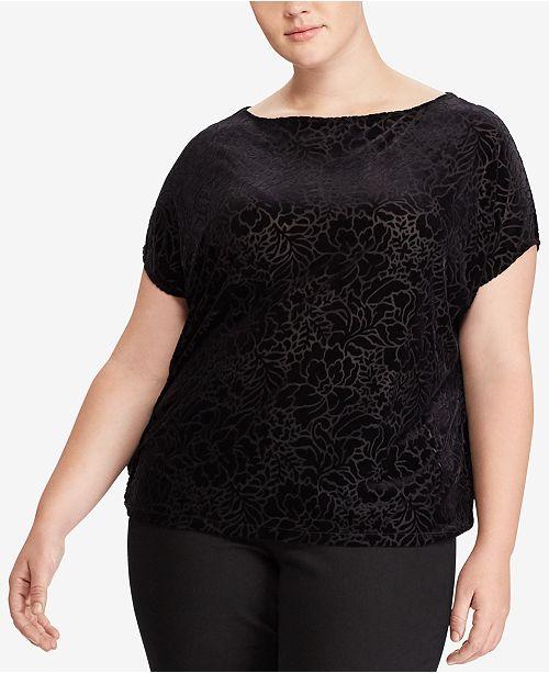 c7021eaa6cb Lauren Ralph Lauren. Plus Size Floral-Burnout Velvet T-Shirt. Be the first  to Write a Review. main image  main image ...