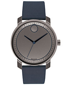 Movado Men's Swiss BOLD Navy Leather Strap Watch 41mm