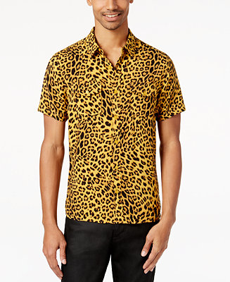 Guess men 39 s leopard print shirt casual button down for Printed shirts for men
