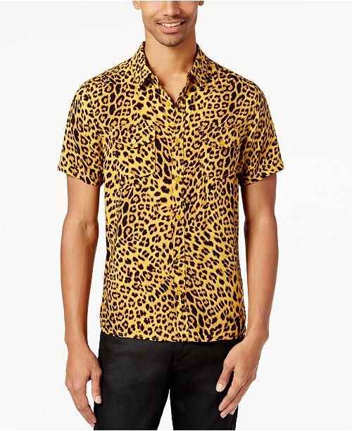 322cb967a2eb GUESS Men's Leopard-Print Shirt & Reviews - Casual Button-Down ...