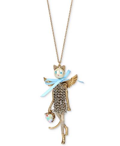 Betsey Johnson Two-Tone Multi-Stone Winged Mesh Cat Pendant Necklace