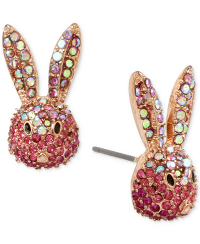 Betsey Johnson Gold-Tone Pink Pavé Bunny Stud Earrings