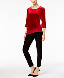 NY Collection Velvet Asymmetrical Top & ECI Straight-Leg Pants