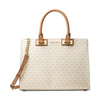 MICHAEL Michael Kors Signature Quinn Large Satchel (Vanilla / Brown)