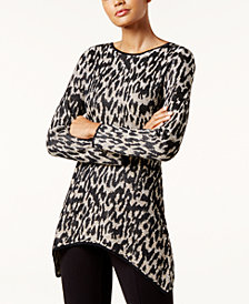 I.N.C. Leopard-Print Handkerchief-Hem Tunic Sweater, Created for Macy's