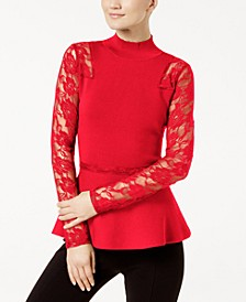 INC Petite Lace Peplum Top, Created for Macy's