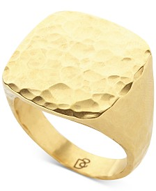 DEGS & SAL Men's Hammered Fashion Ring in 14k Gold-Plated Sterling Silver
