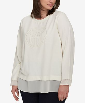 Tommy Hilfiger Plus Size Layered-Look Logo Sweatshirt, Created for Macy's